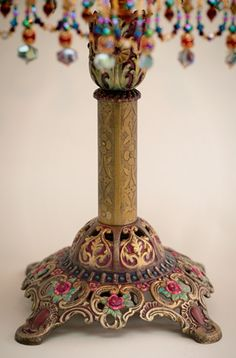 Detail of Pink and Gold Bohemian Antique Indian Silk Victorian Lampshade Victorian Lamps, Antique Lamps, Vintage Lamps, Metal Table Lamps, Lamp Bases, Hand Painted Furniture, Funky Furniture, Chandelier Design, Chandeliers