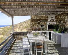 Open air built traditional oven and dining table, Antiparos, Greece