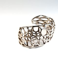 Spiral Cuff - stainless steel bracelet, cellular organic intricate 3d-printed jewelry