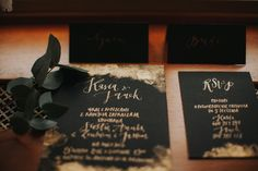 black with gold - invitations by HELLOcalligraphy .Małgosia Małecka.