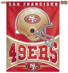 This San Francisco football banner makes a great decoration outside or inside the home hanging in the kid's room, rec room, or sports room of any fan of NFL team San Francisco Football Banner, Nfl Football Helmets, Football Team, Nfl 49ers, 49ers Fans, Sf Forty Niners, Nfl San Francisco, Indianapolis Colts, Cincinnati Reds