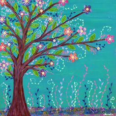 Abstract Painting, Tree landscape, Collage Painting, Colorful Contemporary Art for Home Decor   A vibrant and colorful tree with lots of pretty flowers