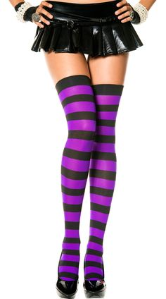 d2f70bac63a5 Loving this Black  amp  Purple Stripe Thigh-High Stockings on  zulily!