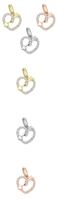 Crimp and End Beads 164354: Heart Diamond Charm 14 Karat Solid Gold, Diamond Charm, Delicate Charm BUY IT NOW ONLY: $199.99
