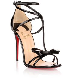 Christian Louboutin OFF!>> Black strappy Blakissima sandals with bow detail (Christian Louboutin) Black High Heel Sandals, Bow Sandals, Ankle Strap Heels, High Heels Stilettos, Stiletto Heels, Pumps, Sandals Outfit, Ankle Straps, Shoes Heels