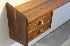 Floating Walnut Wall Console with 2 drawers. 40 Long, 12 Deep, drawer box High, overall height As a desk the depth would be increased Thrift Store Furniture, Refurbished Furniture, Metal Furniture, Repurposed Furniture, Shabby Chic Furniture, Rustic Furniture, Vintage Furniture, Furniture Ideas, Mid Century Console