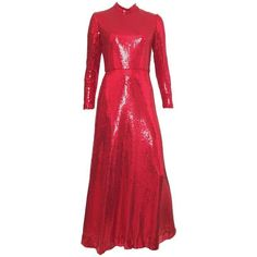 Cool Great Neiman Marcus 1980s VINTAGE Red Sequin Gown Size 6. 2018