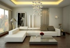 Living Room Grey Concrete Wall Can Be Decor With Modern White Chandelier  Modern Small Space Living Rooms With White Sofas And Grey Cushion Can Add  The ...