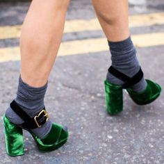 Velvet Platforms can go from night to day in a snap-just add contrasting socks