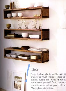 Floating timber shelves