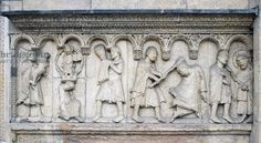 Cain and Abel, detail from Stories of Genesis (ca 1099), marble bas-relief of Wiligelmo (11th-12th century), facade, Modena Cathedral (UNESCO World Heritage List, 1997), Emilia-Romagna, Italy