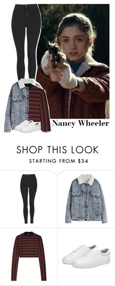 """Nancy Wheeler style."" by jk-jaylene ❤ liked on Polyvore featuring Topshop, Victoria Beckham, cute, 80, netflix, tvshow and StrangerThings"