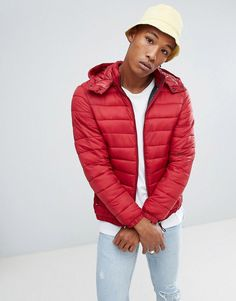 Bershka Quilted Jacket With Detachable Hood In Red - Red