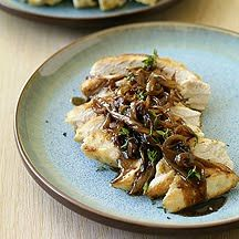 Chicken with balsamic vinegar, sweet onions, and thyme - so good with parmesan risotto!
