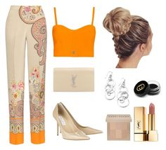 """#orange"" by mayraliz on Polyvore featuring moda, Etro, Carven, Yves Saint Laurent, Jimmy Choo, Ippolita, Gucci e Bobbi Brown Cosmetics"
