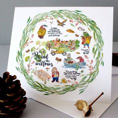 Wind in the Willows Christmas Wreath Card | Etsy English Gifts, Mole, White Envelopes, All Design, Christmas Wreaths, Happy Birthday, Greeting Cards, Fancy, Illustration