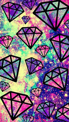 Bright vintage falling diamonds galaxy iPhone/Android wallpaper I created for the app CocoPPa.