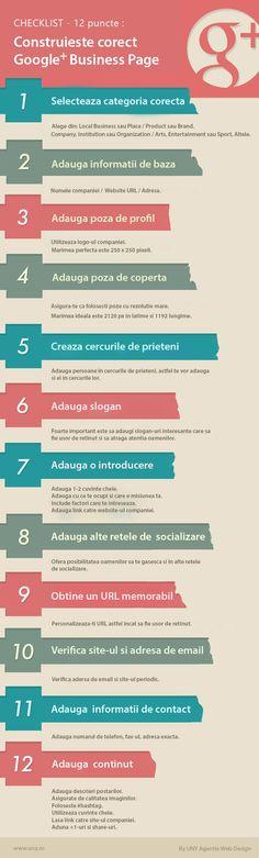 Verifica checklist-ul pentru a te asigura ca afacerea ta are o pagina de Google Plus corect construita www.uny.ro