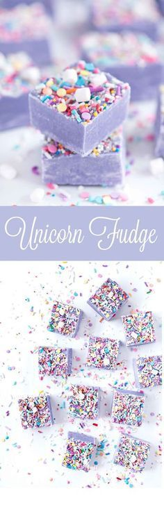 Unicorn Fudge | Sprinkles for Breakfast. Purple fudge with sprinkles and mini marshmallows. Unicorn birthday party ideas