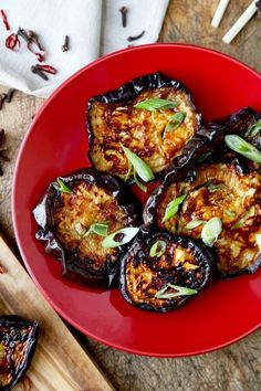 Char Siu Style Eggplant -baked and caramelized Char Siu Style Roasted Eggplant Recipe has the deep sweet and savory flavors of Chinese roasted pork Chinese Eggplant Recipes, Eggplant Dishes, Roast Eggplant, Baked Eggplant, Vegetable Dishes, Vegetable Recipes, Vegetarian Recipes, Cooking Recipes, Healthy Recipes