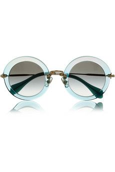 Miu Miu Glitter-finish acetate and metal teashade sunglasses