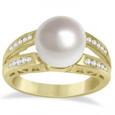 South Sea Pearl & Diamond Ring Split Shank 14K Yellow Gold 10-11mm - Allurez.com