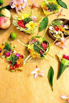 Balinese hindu offerings with flowers