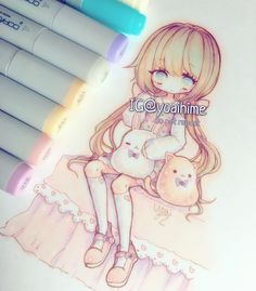 some of you suggested last time that you like my chibis with longer bodies better (>人<;) I like it too but I'd also like to still draw them like I used to xD i'm kind of aiming for a proportion that is semi chibi and semi regular anime, if that makes sense ( ´ ▽ ` )ノ now that I think about it the subject of drawings like these tend to reflect my own body and lifestyle goals...it sounds silly but I want to have cute dresses and live a 'kawaii lifestyle' XD ---MATERIALS LIST: #copic…