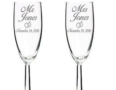 Engraved Wedding Champagne Flutes with heart ring Perfect wedding gift personalized for the new Husband and Wife, gift for Weddings, Newlyweds, Any Special Celebration! FREE PERSONALIZED ENGRAVING: Last name of Bride and Groom and wedding date. Have a different design or font request please send a custom order request. DISHWASHER SAFE All engraved glasses are 100% dishwasher safe. MADE TO ORDER All items are personalized and made to order.   Shop this product here…