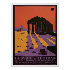 Vintage Syria (Palmyra) and Lebanon travel ad Posters