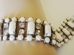 50s Vintage Milk Glass & Rhinestone Bracelet by joysshop on Etsy, $14.95