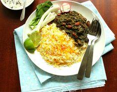 خورش قورمه سبزی Khoresh-e Ghormeh Sabzi is one of the most delicious and popular dishes among Iranians. a flavorful and aromatic herbs, slow cooked lamb cubes, fork-tender beans and dried lemons Iranian Cuisine, Iranian Food, Healthy Cooking, Cooking Recipes, Keto Recipes, Healthy Food, Dessert Recipes, Healthy Recipes, Slow Cooked Lamb