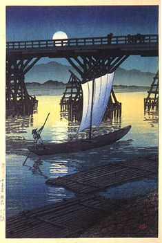Asahi Bridge, Kosentani, by Kawase Hasui, 1921