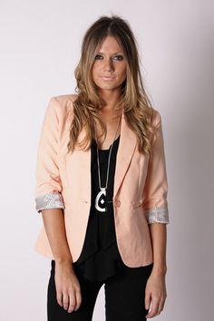henley blazer- peach