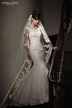 Romilda from the Ronald Joyce 2015 collection! Check out the rest of the wedding dresses here... #fishtail #lace