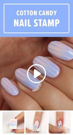 How to Get Cotton Candy Nails Nail Stamping nail art stamping kit online pakistan Diy Nails, Cute Nails, Pretty Nails, Pretty Nail Designs, Nail Art Designs, Nails Design, Diy Ongles, Cotton Candy Nails, Stamping Nail Art