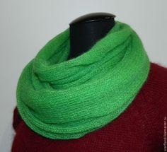 Купить Снуд Майская Зелень - ярко-зеленый, однотонный, снуд, снуд вязаный, подарок
