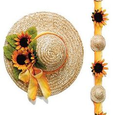 "14"" Straw Hats  (pack of 6) for girls to decorate"