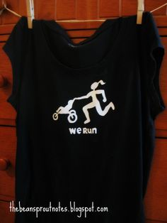 """Mother with Jogging Stroller T-shirt. """"We Run"""""""