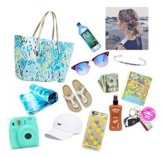 """""""This is what's going to be in my beach bag in FLORIDA!!☀️"""" by pinterestemily on Polyvore featuring Lilly Pulitzer, Ray-Ban, Birkenstock, Hawaiian Tropic, Fujifilm, Vineyard Vines, Casetify, Mercedes-Benz and BaubleBar"""