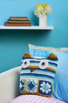 Crochet owl cushion. FREE PDF 6/15