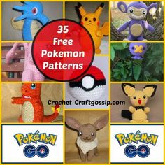 I am so excited, I just came across the BEST free crochet patterns for Pokemon Go. These Free patterns are all located on one amazing website! Wolfdreamer has shared over 35 of her favourite Pokemon Pokemon Crochet Pattern, Crochet Toys Patterns, Amigurumi Patterns, Stuffed Toys Patterns, Crochet Designs, Crochet Diy, Crochet Gifts, Crochet Dolls, Crochet Food