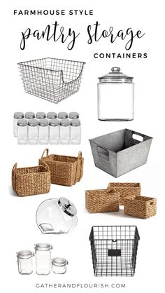 Farmhouse Style Pantry Storage Recently, I shared some Pantry Organization Inspiration with you all. Today, I will be sharing my favorite Farmhouse Style Pantry Storage. Kitchen Organization Pantry, Home Organisation, Pantry Ideas, Diy Organization, Organizing Ideas, Organising, Organized Pantry, Linen Closet Organization, Pantry Shelving