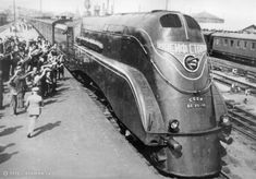 Soviet locomotive, streamlined streamliner retro art deco railroad futuristic train trains
