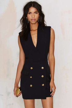 Nasty Gal Factory All Suited Up Tuxedo Dress