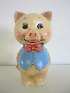 Vintage Kitschy Piggy Bank Little Pig Wearing by Tie.  Your favourite piggy banks: http://www.helpmetosave.com/2012/02/piggy-bank/