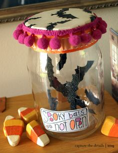 """Batty jars.  Something like this would be cute as a prop at the """"Haunted Candy Shack""""..."""