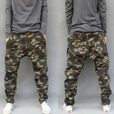 Mens Camouflage Casual Harem Trousers Tapered Baggy Pants Drop Crotch CAMO Jeans | eBay
