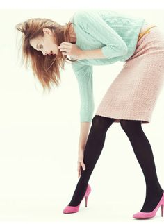 like the color combo and black tights for those cold spring days.