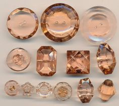 VINTAGE GLASS BUTTONS - DEPRESSION GLASS PINK LOT OF 13 BUTTONS